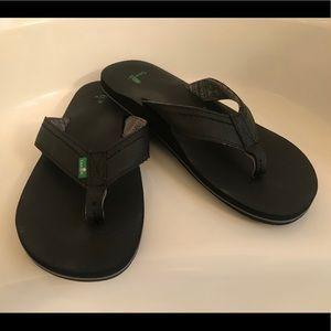 Men's Sanuk Black Flip Flops